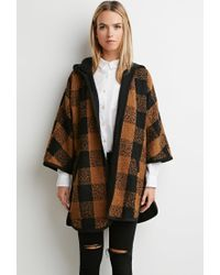 Forever 21 | Black Plaid Hooded Jacket | Lyst