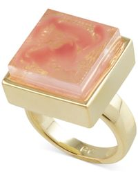 French Connection | Pink Gold-Tone Semiprecious Square Stone Cocktail Ring | Lyst