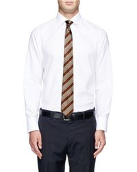 Canali Brown Reversible Houndstooth Silk Tie for men