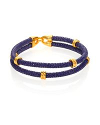 Stinghd | Blue 14k Goldplated & Stingray Wrap Bracelet for Men | Lyst