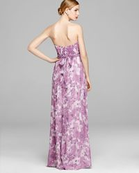 Amsale - Multicolor Gown - Strapless Chiffon Banded Waist - Lyst