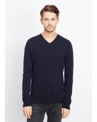 Vince Blue Cashmere V-neck Sweater With Raised Seam Detail for men