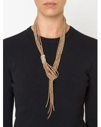 Brunello Cucinelli | Purple Glass Bead Lariat Necklace | Lyst