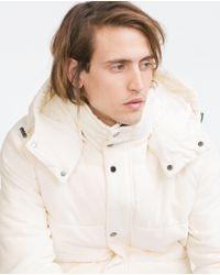 Zara | Natural Velvet Padded Jacket for Men | Lyst