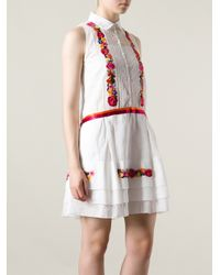 Alberta Ferretti | White Floral Embroidered Shirt Dress | Lyst