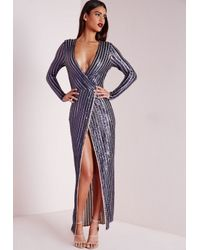 Missguided | Blue Premium Sequin Stripe Wrap Maxi Dress Navy | Lyst