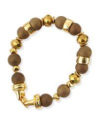 Jose & Maria Barrera | Metallic Gold-Plated & Druzy Beaded Bracelet | Lyst