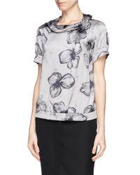 Armani - Gray Floral Print Silk Blouse - Lyst