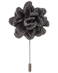 Lanvin - Gray Houndstooth Flower Tie Pin for Men - Lyst