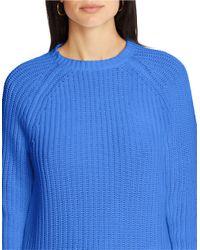 Lauren by Ralph Lauren Blue Cotton Raglan Sweater