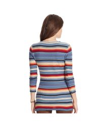 Ralph Lauren - Blue Striped Knit Linen-cotton Top - Lyst