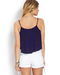 Forever 21 Blue Ribbed Flounce Tank