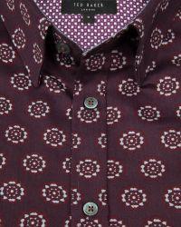 Ted Baker - Red Beastie Spot Print Regular Fit Button Down Shirt for Men - Lyst