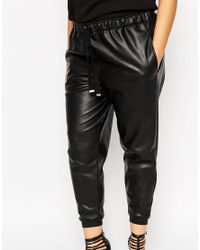 ASOS | Black Jogger In Leather Look | Lyst