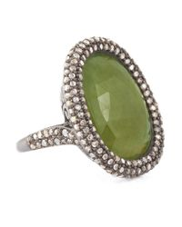 Bavna | Sterling Silver Green Sapphire Oval Ring With Champagne Rose Cut Diamonds | Lyst