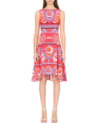 Peter Pilotto | Red Abstract-print Crepe Dress | Lyst