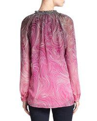 Diane von Furstenberg - Pink Leysa Printed Silk Blouse - Lyst
