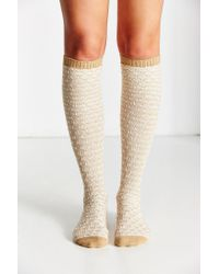 Urban Outfitters - Yellow Diamond Jacquard Over-the-knee Sock - Lyst