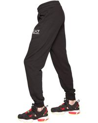 EA7 | Black Cotton Blend Jogging Pants for Men | Lyst