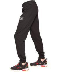 EA7 Black Cotton Blend Jogging Pants for men