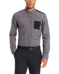 HUGO | Gray 'enico' | Slim Fit, Cotton Contrast Button Down Shirt for Men | Lyst
