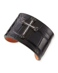 Katie Design Jewelry | Black Crown The Cross Alligator Cuff With Diamonds | Lyst