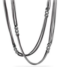 David Yurman Metallic Curb Link Eight-Row Black And White Necklace, 32""