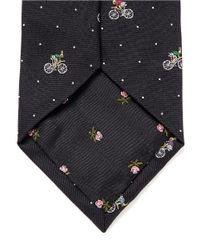 Paul Smith - Black Cycling Rabbit Silk Tie for Men - Lyst