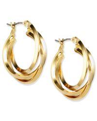 Anne Klein | Metallic Gold-tone Three Ring Hoop Earrings | Lyst