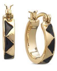 House of Harlow 1960 | Metallic Gold-Tone And Black Enamel Huggie Hoop Earrings | Lyst
