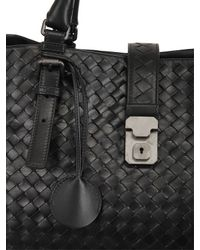Bottega Veneta - Black Roma Classic Intreccio Nappa Leather Bag - Lyst