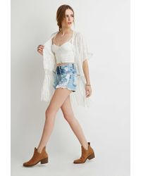 Forever 21 | Natural Fringed Floral-embroidered Kimono | Lyst