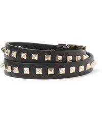 Valentino - Black Studded Leather Wrap Bracelet for Men - Lyst