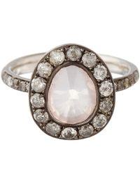 Annoushka White Gold Rose Quartz Dusty Diamonds Ring