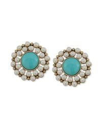 Carolee Blue Antique Goldtone Turquoise Bead and Imitation Pearl Clipon Button Earrings