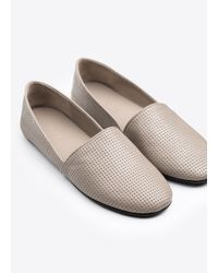 Vince - Gray Bogart Perforated-Leather Slip-On Flats - Lyst