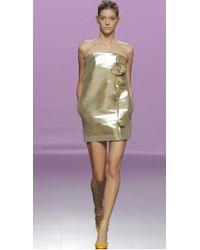 The 2nd Skin Co.   Metallic Gold Strapless Mini Dress   Lyst