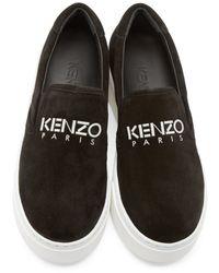 KENZO Black Suede Platform Sneakers