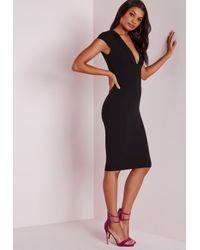 Missguided | Crepe Cap Sleeve Midi Dress Black | Lyst