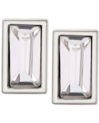 T Tahari | Metallic Silver-tone Rectangle Clear Crystal Stud Earrings | Lyst