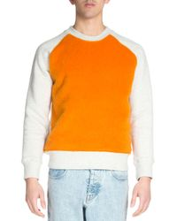 AMI - Natural Colorblock Crewneck Sweatshirt for Men - Lyst