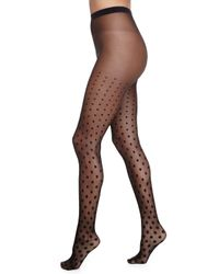 Wolford - Black Leonie Polka Dot Tights - Lyst