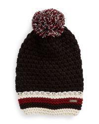Steve Madden Black Striped Knit Beanie