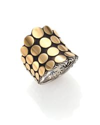 John Hardy | Metallic Dot 18k Yellow Gold & Sterling Silver Saddle Ring | Lyst