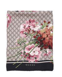 Gucci | Black Geranium & Logo Printed Silk Twill Scarf | Lyst