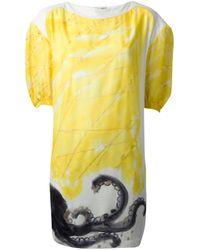 Tsumori Chisato - Yellow Panelled Octopus Print Dress - Lyst