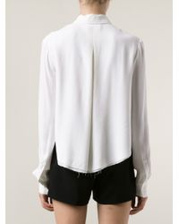 T By Alexander Wang White Crepe Cropped Shirt
