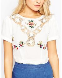 ASOS - Natural Lace Insert Top With Embroidery Detail - Lyst