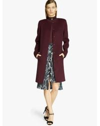 Halston - Purple Wool Coat - Lyst