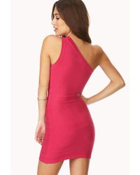 Forever 21 - Pink Night Out One-Shoulder Dress - Lyst